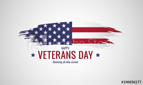 500x300 Happy Veterans Day With Grunge American Flag. Vector Illustration