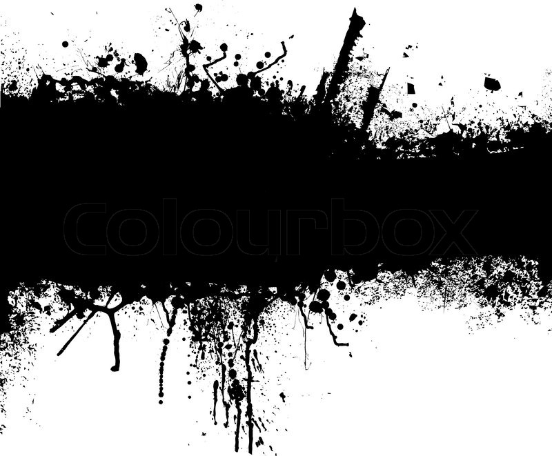 800x661 Grunge Banner With An Inky Dribble Strip With Copy Space Stock