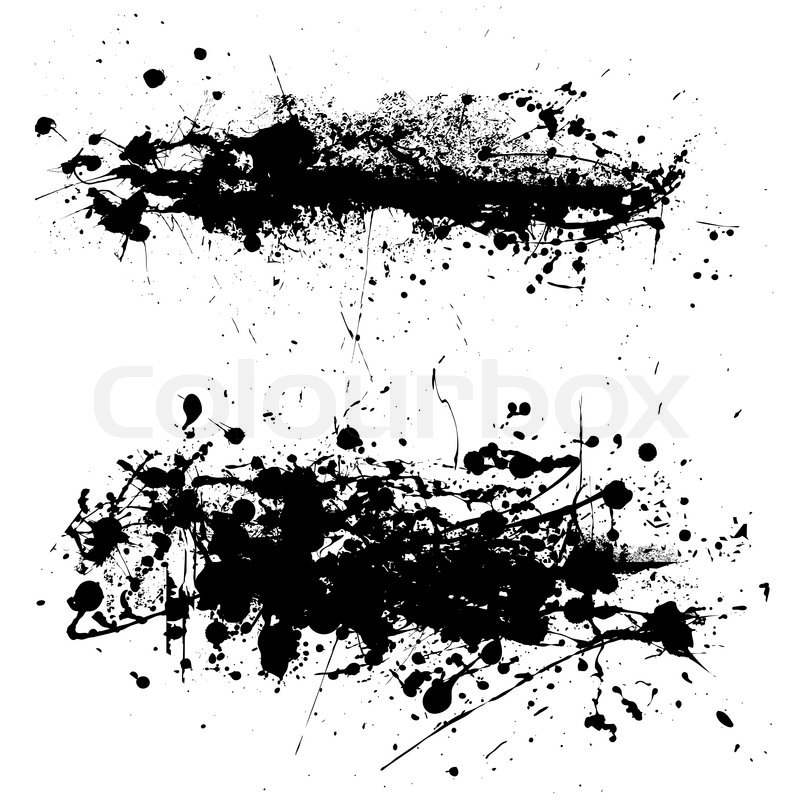 800x800 Two Abstract Black And White Ink Splat With Grunge Effect Stock