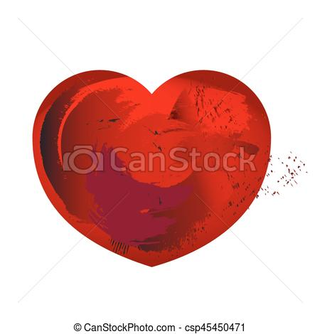 450x470 Red Grunge Heart Isolated. Logo Marriage Agency. Vector Illustration.