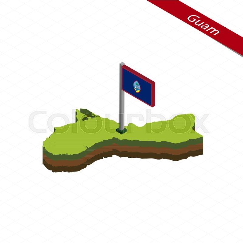 800x800 Isometric Map And Flag Of Guam. 3d Isometric Shape Of Guam. Vector