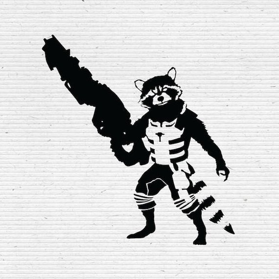 570x570 Rocket Raccoon Guardians Of The Galaxy Silhouette Svg Cutting Etsy