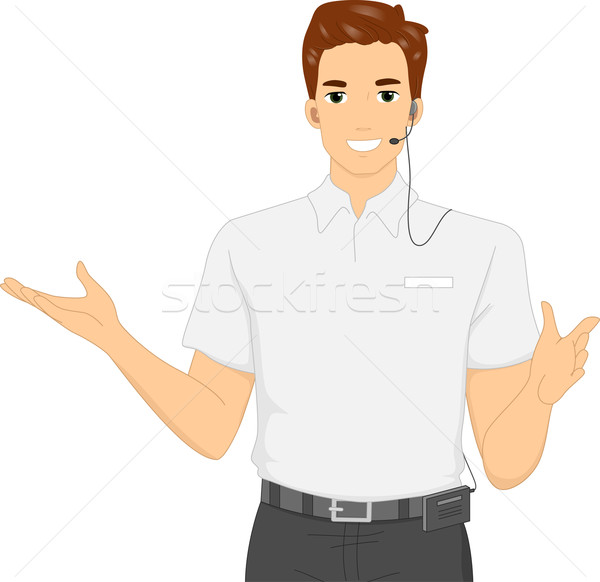 600x582 Male Tour Guide Vector Illustration Lenm ( 6394088) Stockfresh