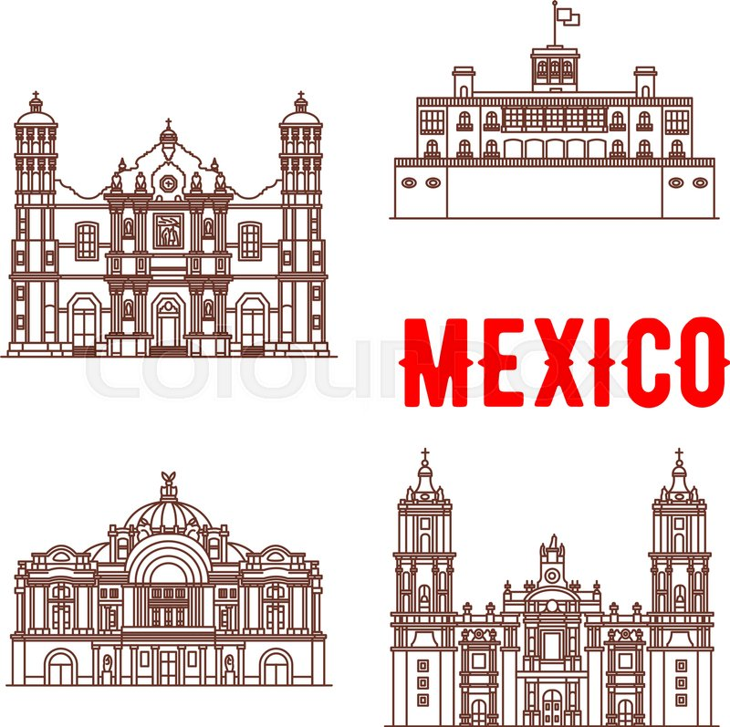 800x797 Mexican Architecture Vector Icons. Our Lady Of Guadalupe Basilica