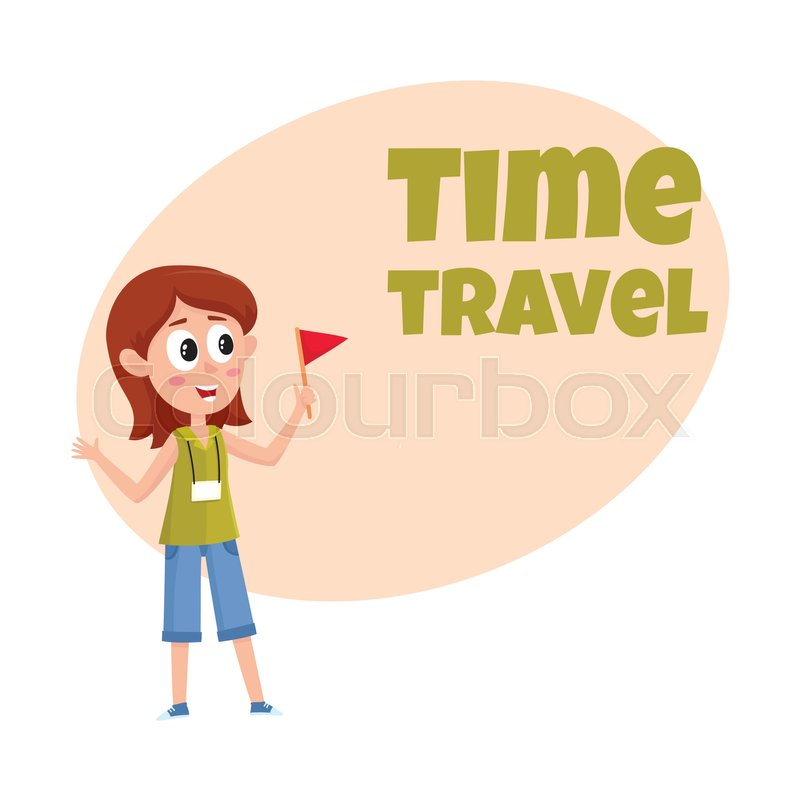 800x800 Travel Time Poster, Banner, Postcard Design With Pretty Girl Tour
