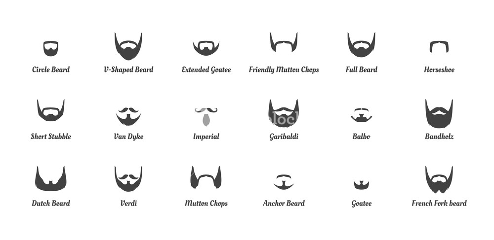 1000x487 Vector Cartoon Style Set Of Man Different Fashion Beards And