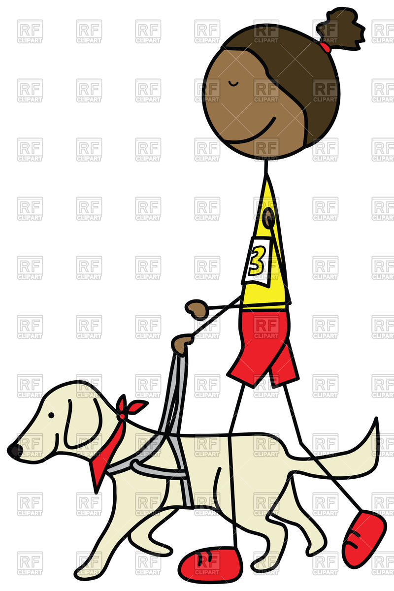 800x1200 Cartoon Blind Girl Running With A Guide Dog Vector Image Vector