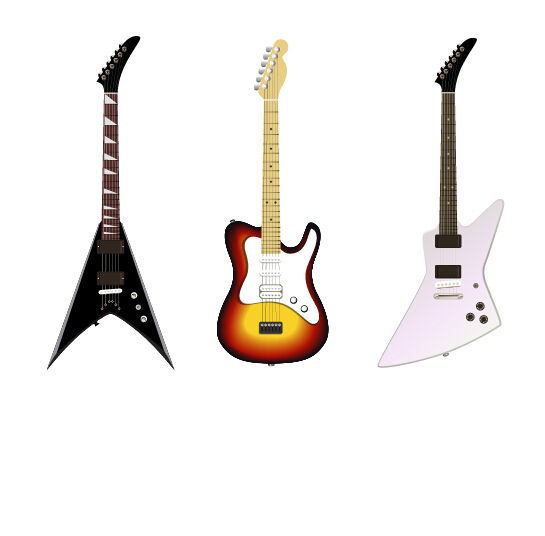 545x536 Electric Guitar Vector Set 01 Free Download