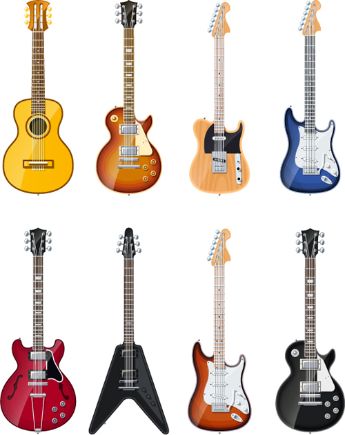 500x630 Electric Guitar Vector Set 02 Free Download