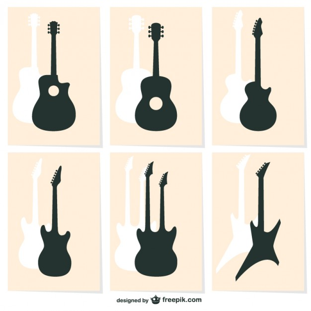 626x626 Guitar Silhouettes Vector Free Download
