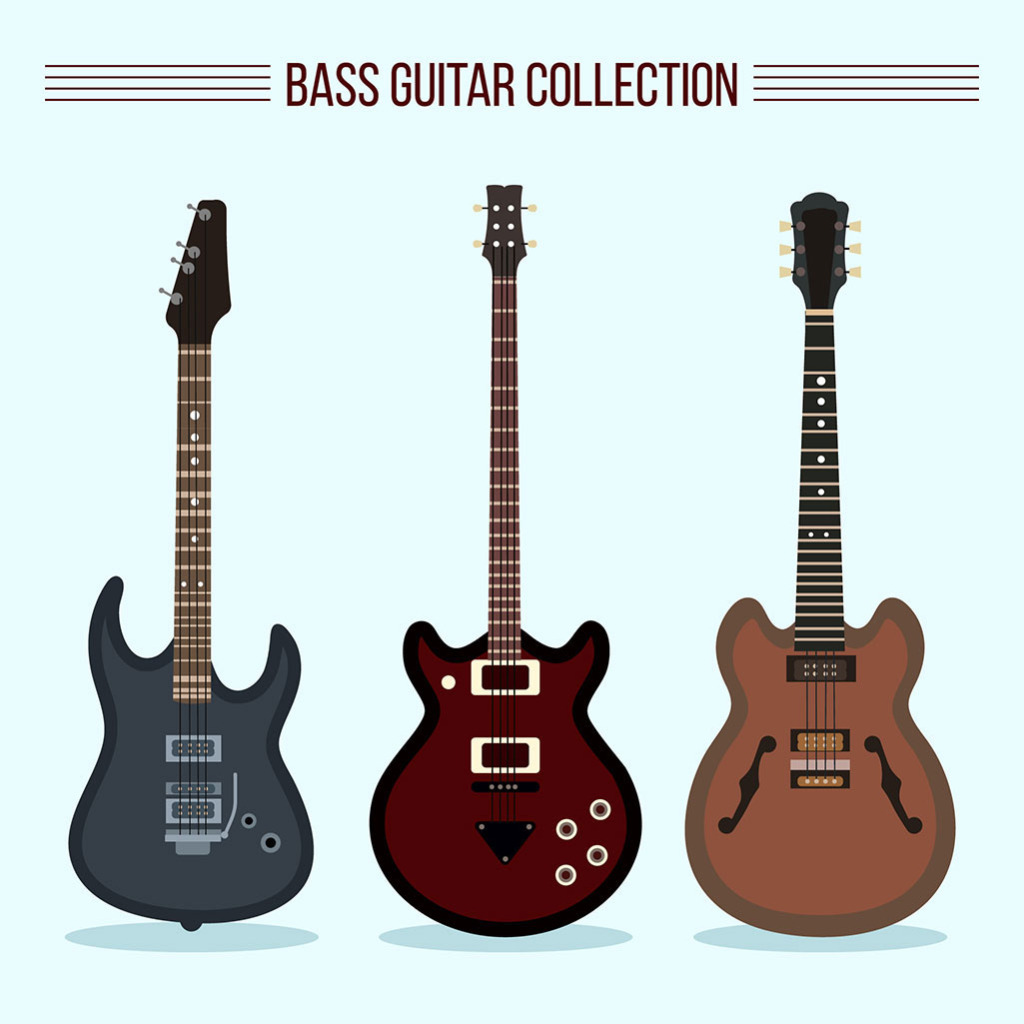 1024x1024 Hand Drawn Three Electric Guitar Vector Free Download Eps Files