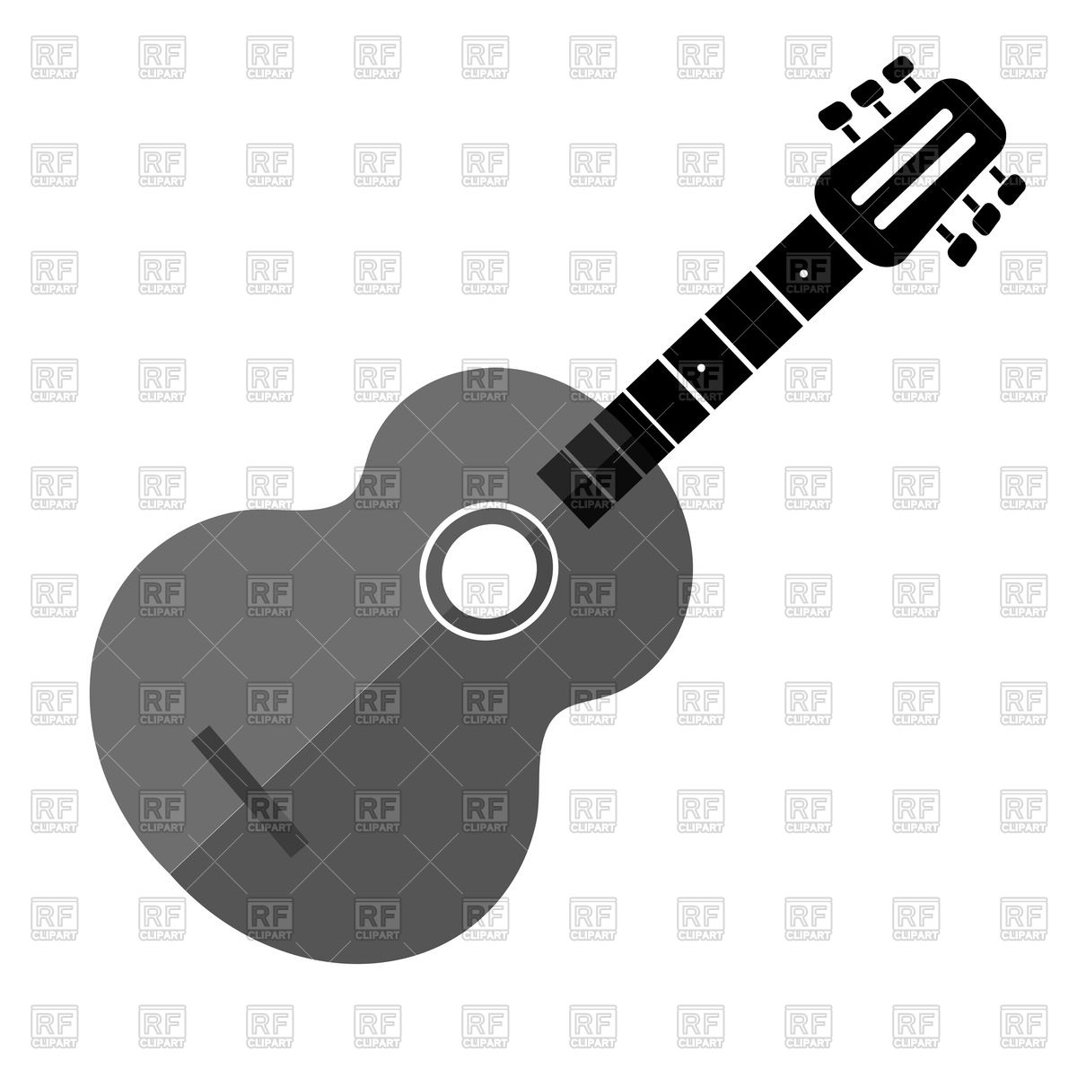 1200x1200 Silhouette Of Gray Guitar Vector Image Vector Artwork Of Objects