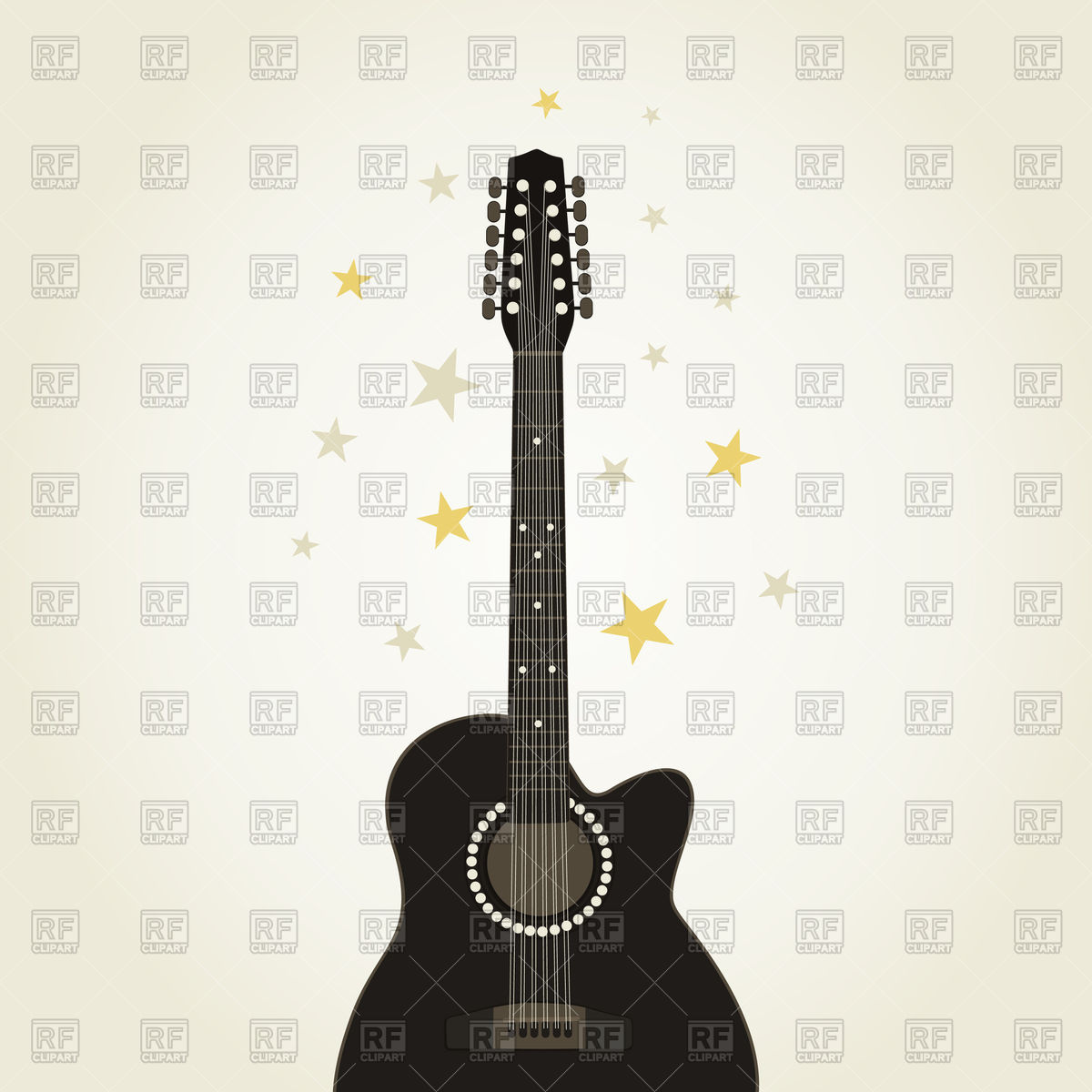 1200x1200 Stars With Silhouette Of Guitar Vector Image Vector Artwork Of