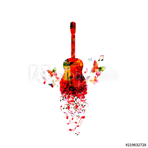 500x500 Music Colorful Background With Music Notes And Guitar Vector