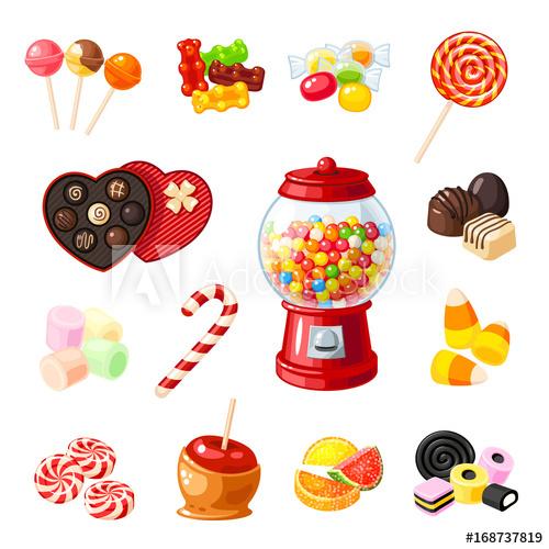 500x500 Set Single Cartoon Candies Lollipop, Candy Cane, Bonbon