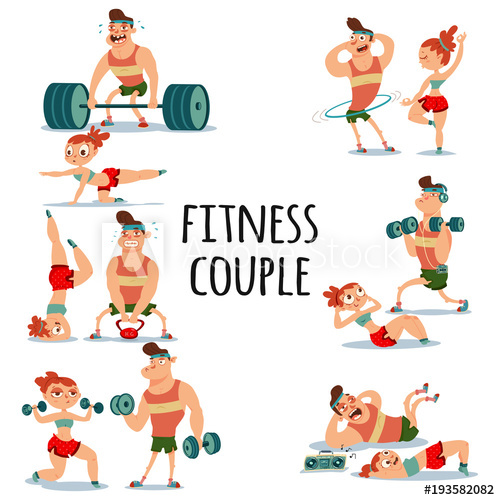500x500 Fitness Couple Man And Woman Doing Exercise. Workout Girl And Guy