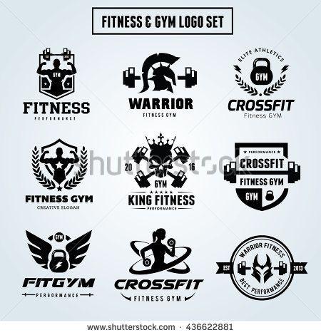 450x470 Fitness Logo Set,gym Logo, Sports Logo Set. Woman Fitness Logo