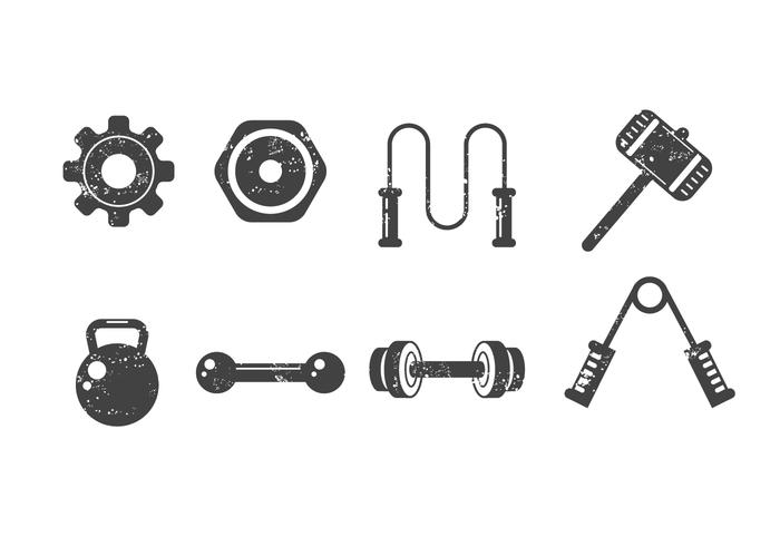 700x490 Free Fitness And Gym Vector Icons With Grunge Style