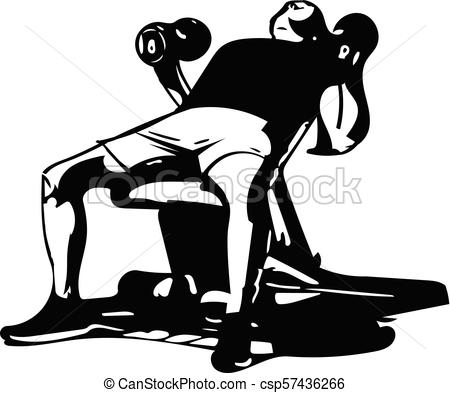 450x393 Man With Barbell Doing Squats In Gym Vector Illustration.