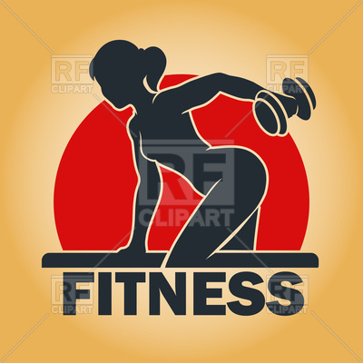 400x400 Young Fitness Woman With Dumbbells Training In Gym Vector Image