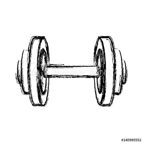 500x500 Monochrome Sketch Of Dumbbell For Training In Gym Vector