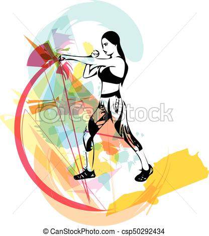 416x470 Boxing Training Woman In Gym Vector Illustration.