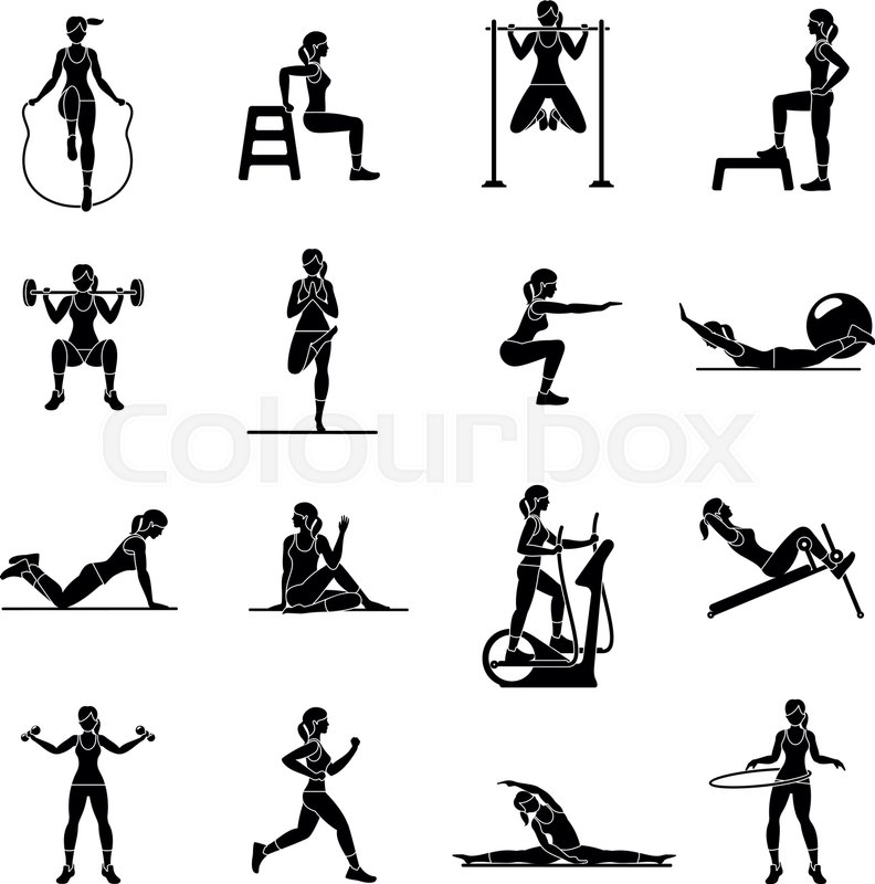 792x800 Fitness, Aerobic And Workout Exercise In Gym. Vector Set Of Gym