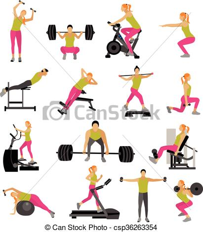 411x470 Fitness And Workout Exercise In Gym. Vector Set Of Icons Flat