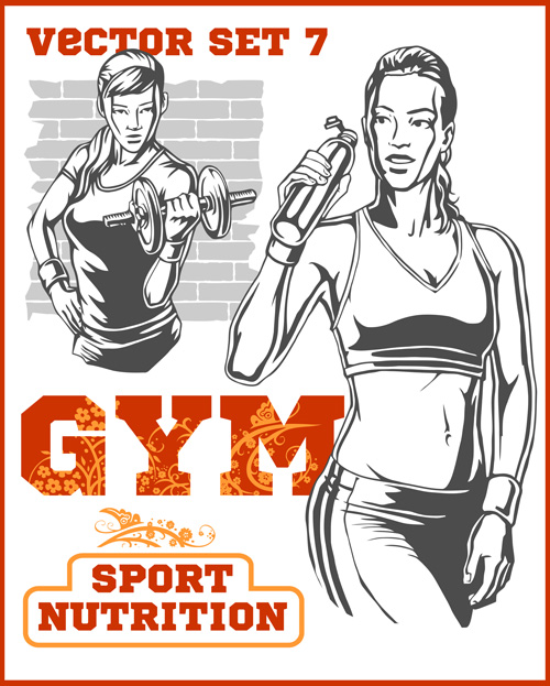 500x623 Fitness Gym Hand Drawn Poster Vector 06 Free Download