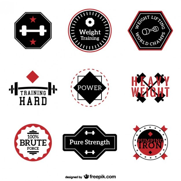 626x626 Fitness And Training Labels Collection Vector Free Download