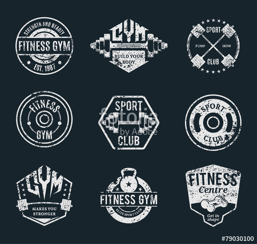 500x476 Vector Grungy Gym And Fitness Logo, Labels And Athletic Badges