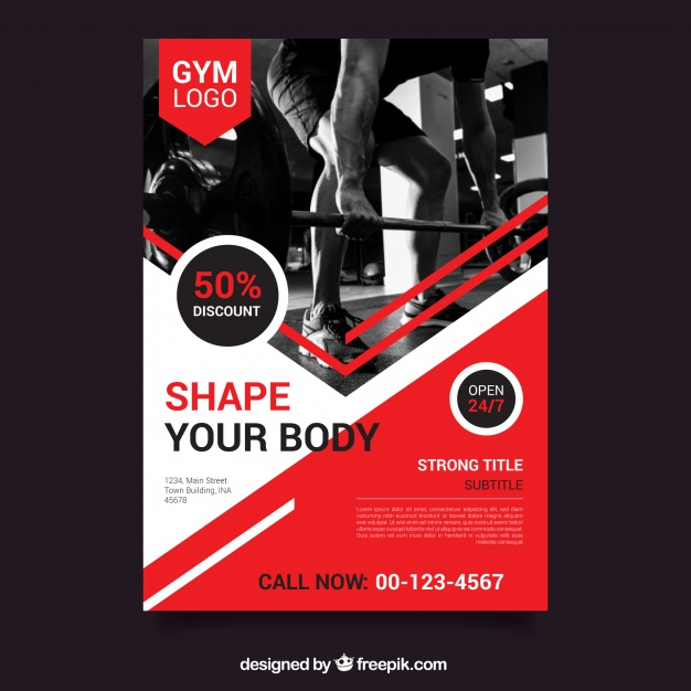626x626 Free Weightligting Brochure Template Red Gym Flyer Template With