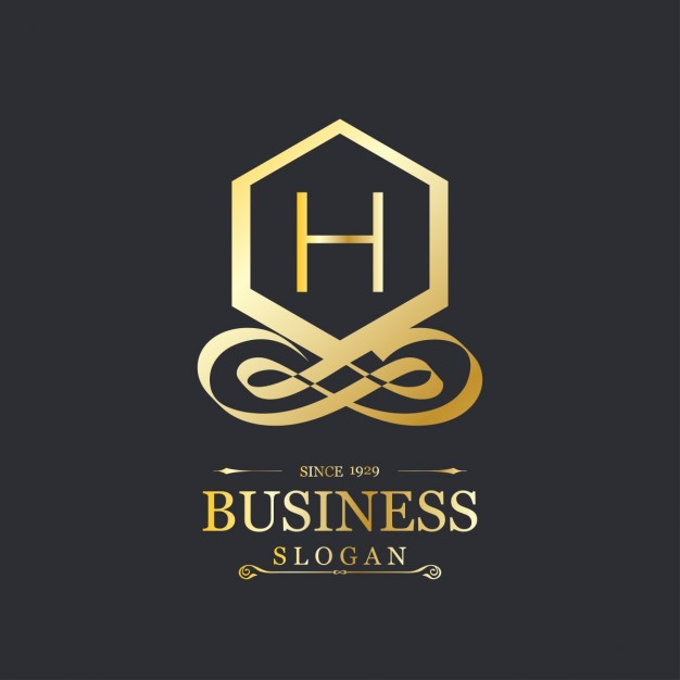 626x626 Elegant Gold Logo With The Letter H Vector Free Download
