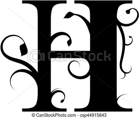 450x381 Floral Letter H. Vector Illustration Of A Floral Letter H On A