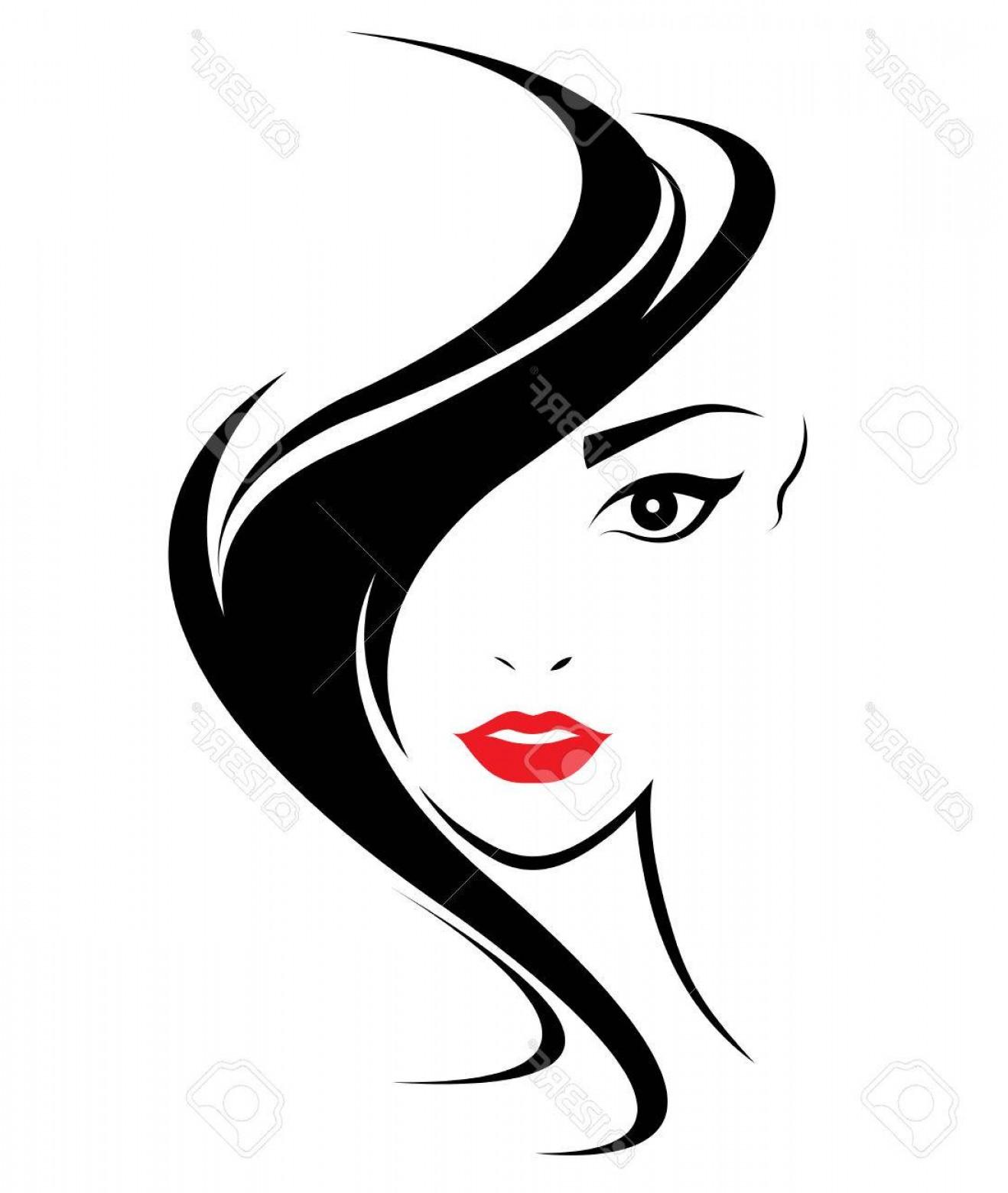 1318x1560 Photostock Vector Women Long Hair Style Icon Logo Women Face On