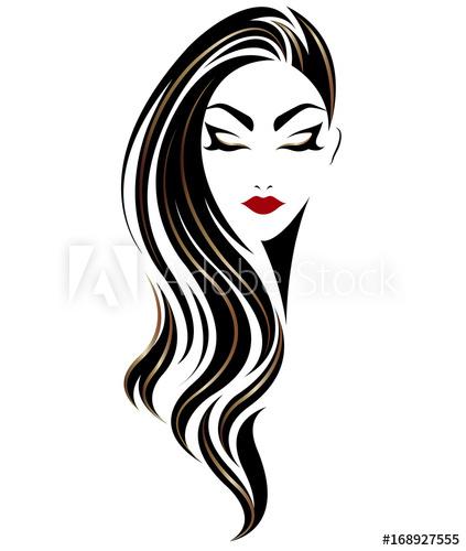 423x500 Illustration Of Women Long Hair Style Icon, Logo Women On White