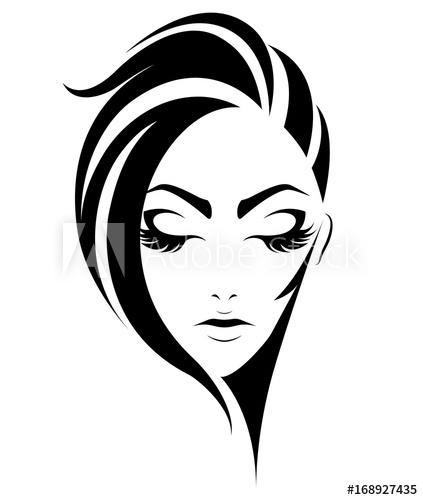 423x500 Illustration Of Women Short Hair Style Icon, Logo Women On White
