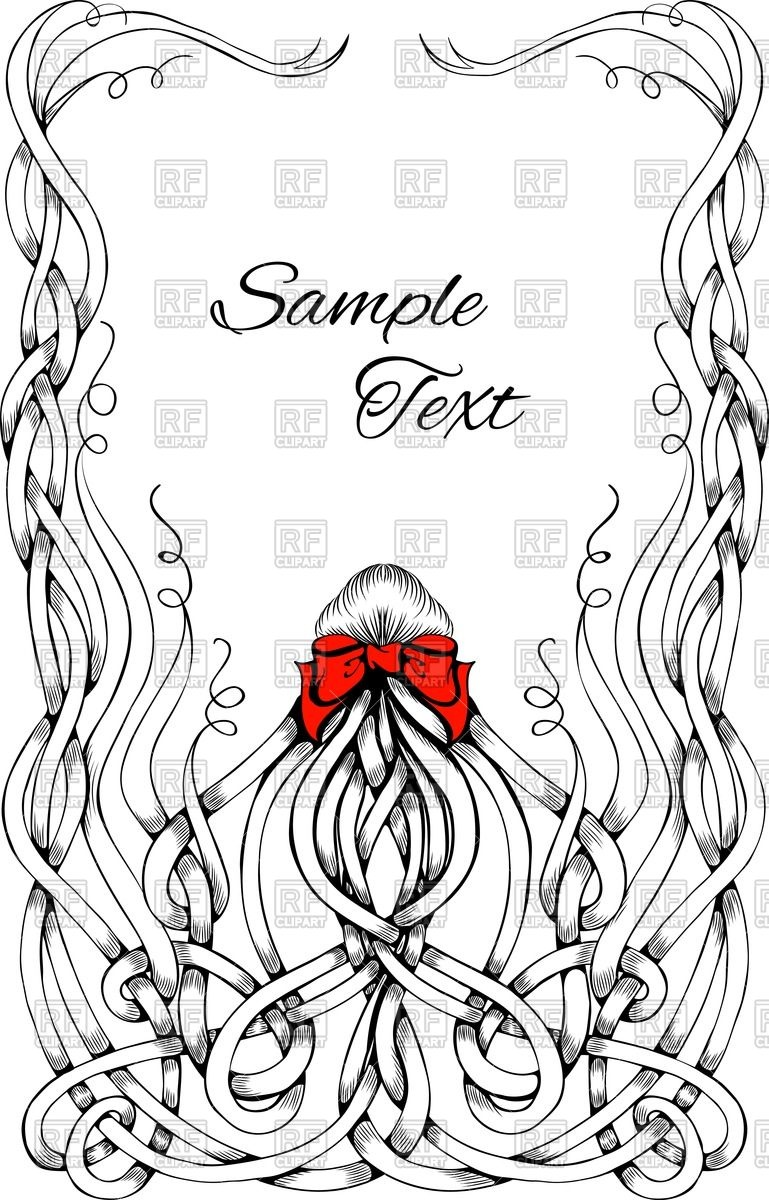 769x1200 Frame Made Of Long Sketchy Curly Hair With Big Red Bow Vector