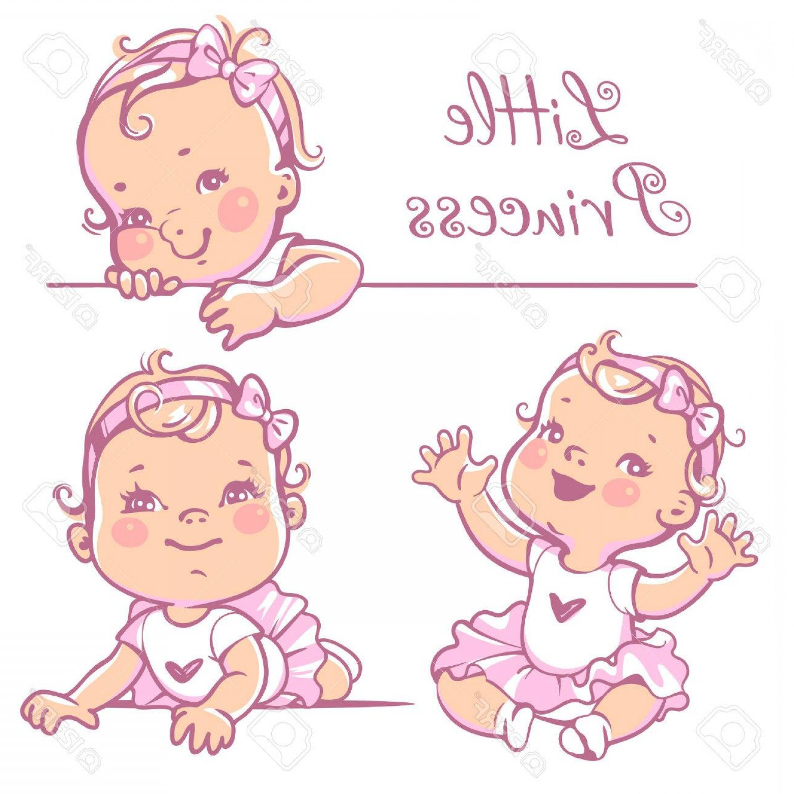 1560x1560 Photostock Vector Set With Cute Little Baby Girl With Curly Hair