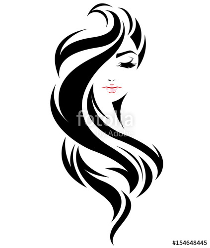 423x500 Women Long Hair Style Icon, Logo Women Face On White Background