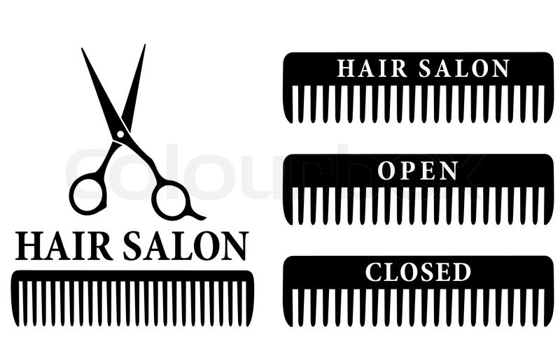 800x495 Open And Closed Hair Salon Sign With Black Professional Scissors
