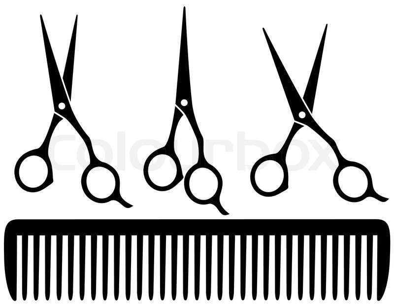 800x617 Set Of Black Professional Scissors On White Background And Comb