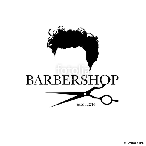 500x500 Logo For Barbershop, Hair Salon With Hipster Haircut And Barber