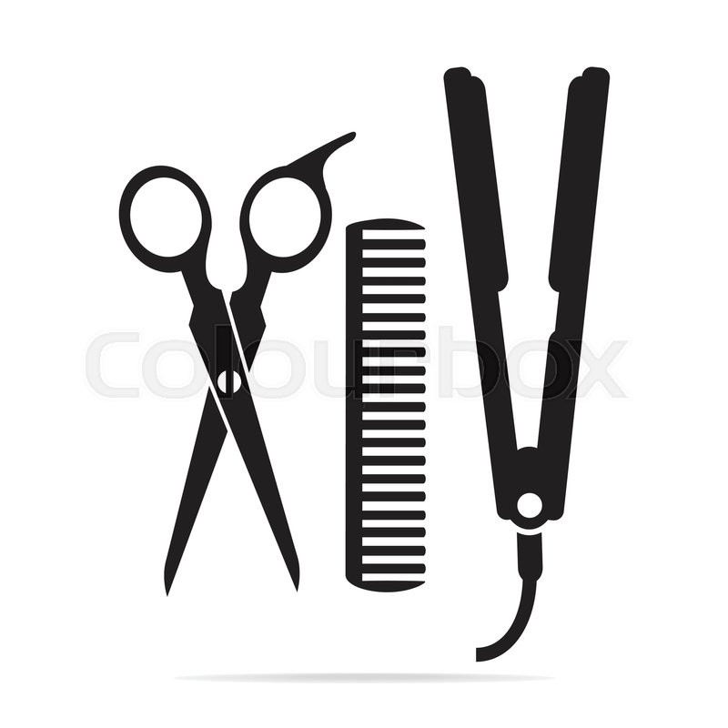 800x800 Hair Salon With Scissors, Comb Icon, Curling Iron Icon Stock