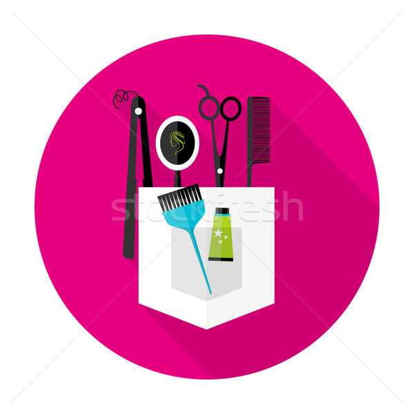600x600 Hair Stylist Circle Icon With Long Shadow Vector Illustration