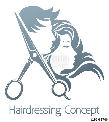 446x500 Hairdresser Hair Salon Scissors Man Woman Concept Stock Image And