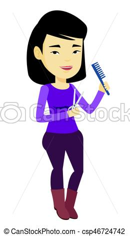 260x470 Hairstylist Holding Comb And Scissors In Hands. Professional Asian