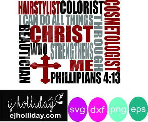 480x395 I Can Do All Things Hairstylist Svg Dxf Eps Png Vector Graphic