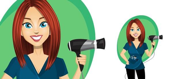 594x274 Vector Female Hairstylist