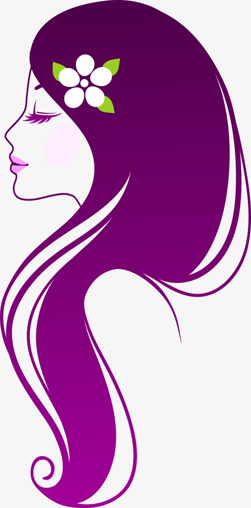 496x1000 Vector Purple Hair Beauty, Vector Character, Character, People